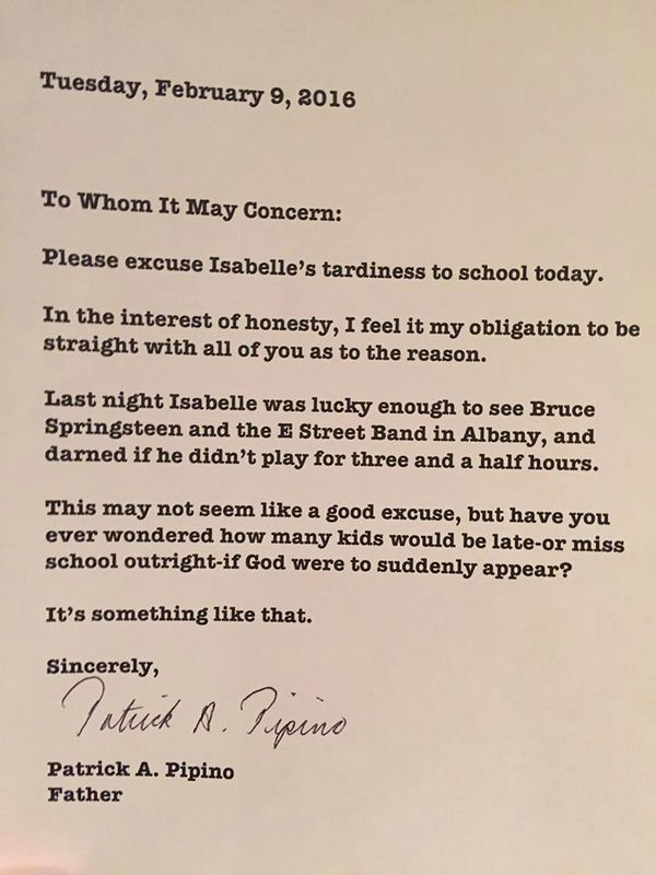 Bruce Springsteen makes a child late for school